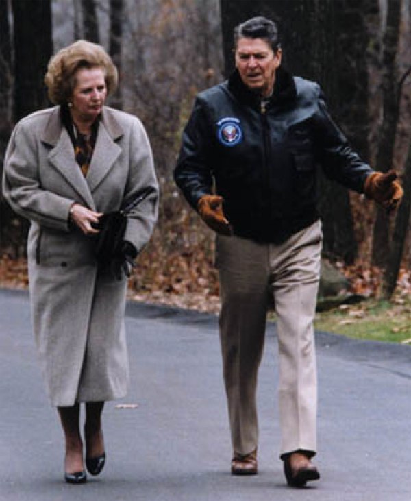 Margaret Thatcher and Ronald Reagan at Camp David in 1986 (source: commons.wikimedia.org)
