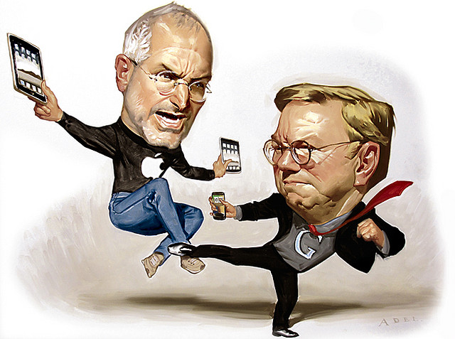 Steve Jobs versus Google CEO, Eric Schmidt image source: flickr.com