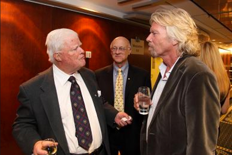 Richard Branson visits with John at the McGill Dobson Cup 2009