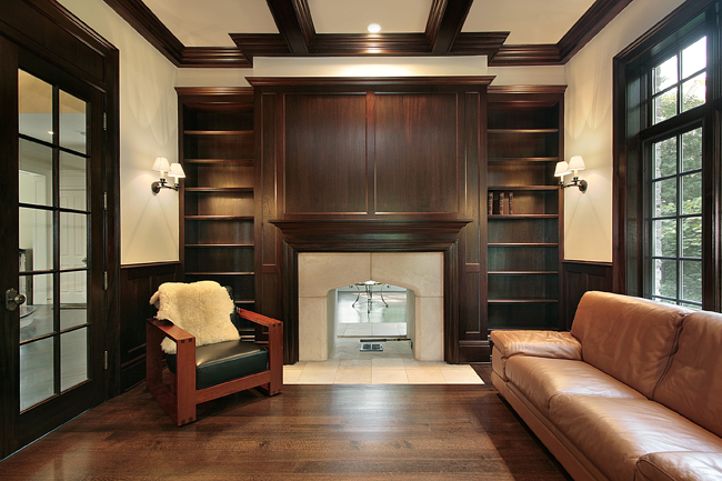Although pricy, if you have the budget to splurge, dark woods, tray ceilings and french doors create the ultimate home office environment for the more studious worker.
