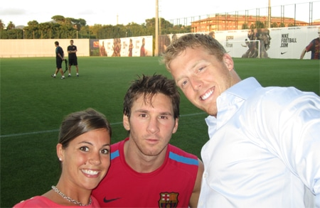 Aaron Hoddinott with Lionel Messi