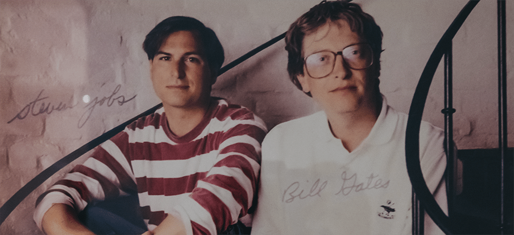 A young Bill Gates and Steve Jobs together