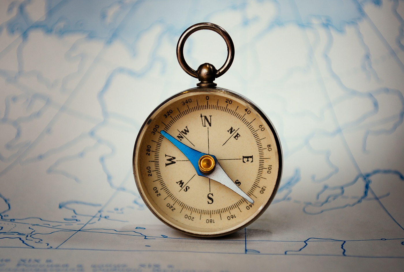 compass on blue map